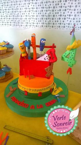 torta infantiles, tren tomas, hombre araña, manny a la obra