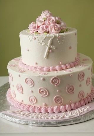 tortas de comunion en rosa
