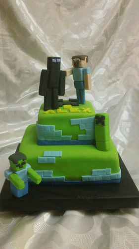 tortas decoradas de minecraft  con adornos incl. 3 kg