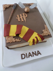 Tortas Decoradas Libro Harry Potter Bufanda Gryffindor Hp