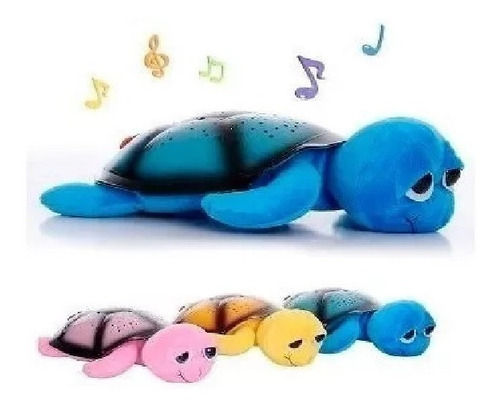 tortuga led velador luz de noche musica bebe proyector