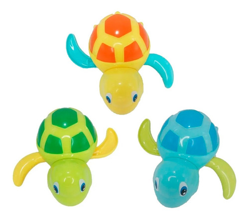 tortuga marina nadadora a cuerda hola 527a set x6 baño edu