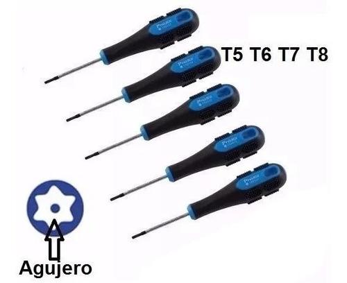 torx proskit tamper 4 piezas t5 t6 t7 t8 punta con agujero
