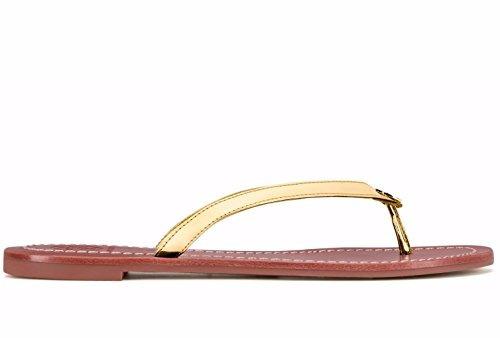 12059774b93 Tory Burch Terra Thong Flip Flops Leather Spark Gold -   7
