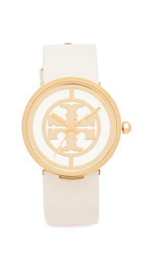 746dcae78 Tory Burch Womens The Reva Leather Watch, Gold/ivory, One Si ...