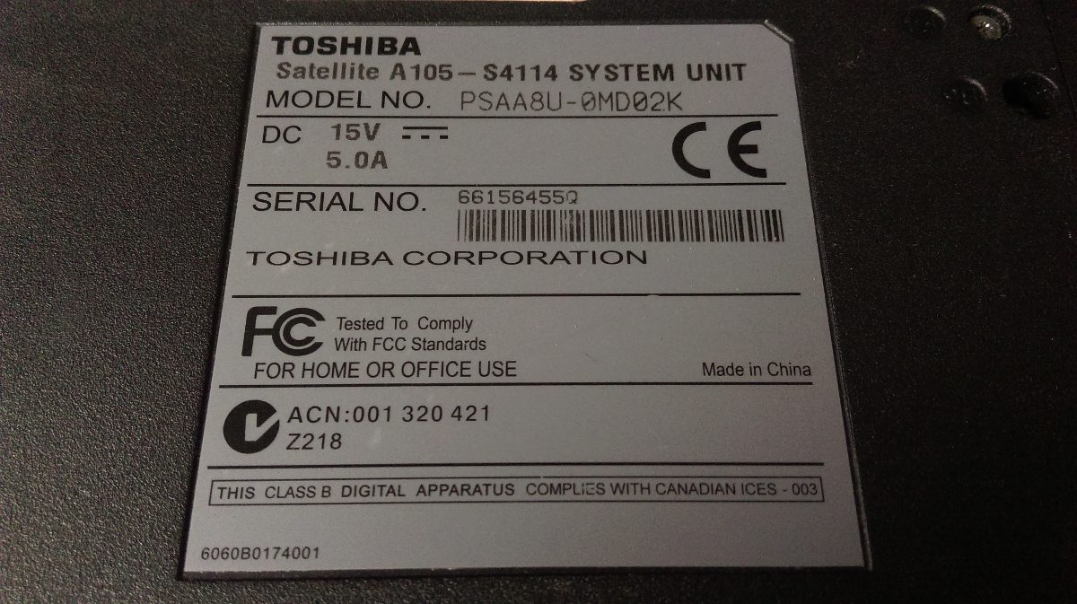 Toshiba satellite a105-s4114