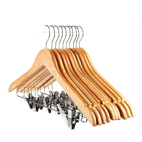 Tosnail 10 pack percha de madera para pantalones perchas - Perchas de madera blancas ...