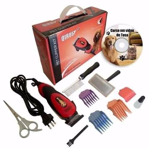 tosquiadeira pet clipper maquina de tosa cães gatos kit 110v