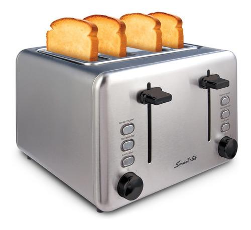 tostadora eléctrica 4 panes acero inoxidable smart tek