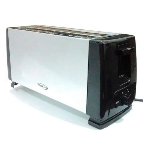 tostadora electrica mega express me-406 1300w ranura 4 panes