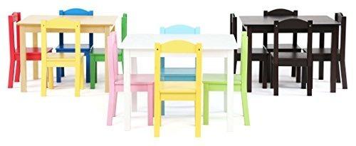 tot tutors kids - mesa de madera para niños y 4 sillas, blan