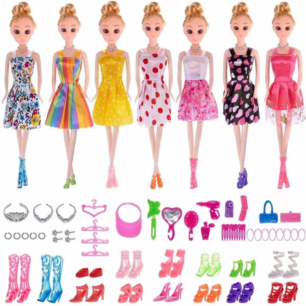 c606c952a657 Total 56pcs 7 Pack Barbie Ropa Vestidos Accesorios -   54.000 en ...