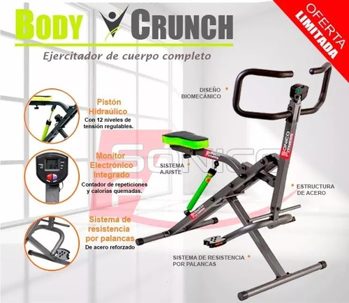 total body crunch xt2018 reforzado+ piston 12n+extras