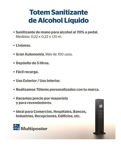 totem sanitizante de alcohol líquido