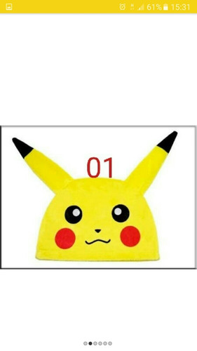 touca animes pikachu/ happy/ naruto/ crepper/ deadpool