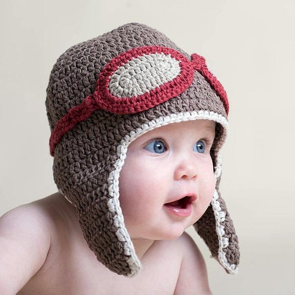 Touca Aviador Em Croche Chapeu Piloto Bone Infantil Bebe - R  32 6ec145cec1b