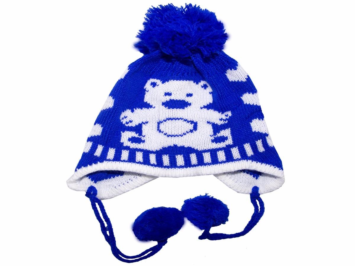 1a94a860e6558 touca com tapa orelha de trico azul claro urso. Carregando zoom.
