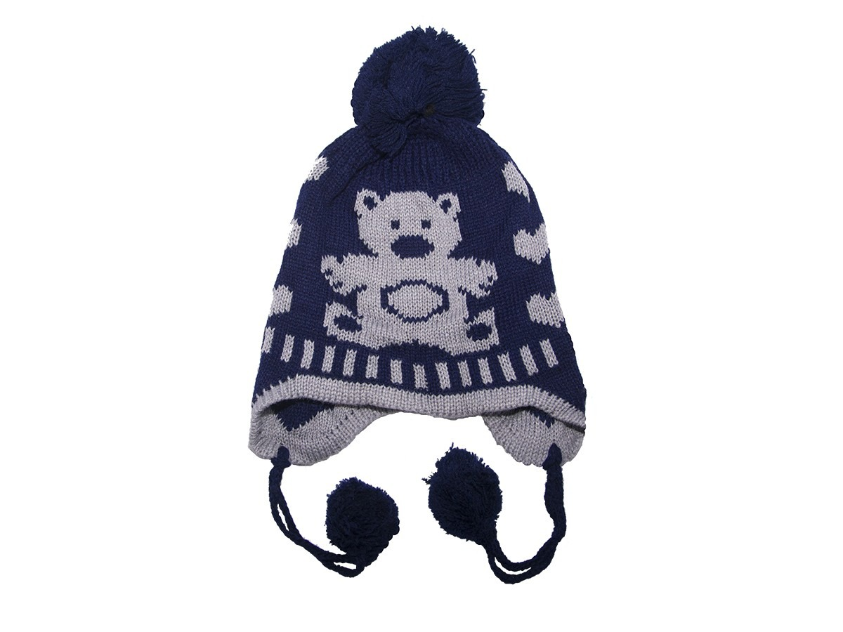 d3638d95e9412 touca com tapa orelha de trico azul urso. Carregando zoom.