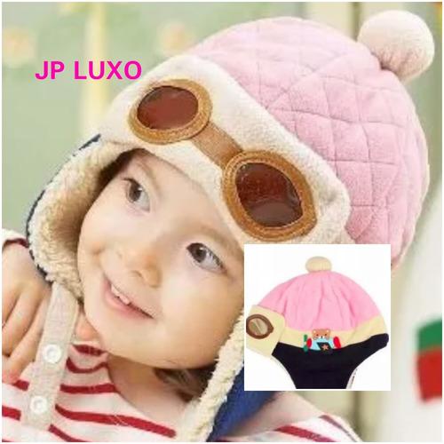 touca criança infantil gorro frio macio inverno rosa