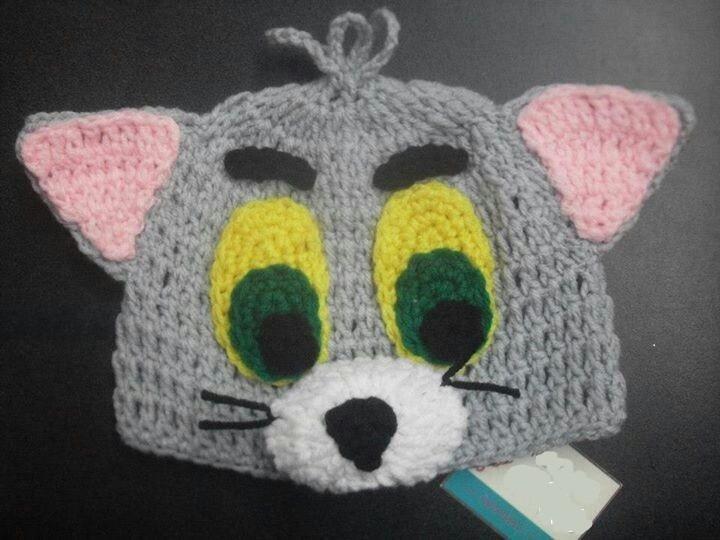 5cf39c8af3de0 Touca Crochê Infantil Desenho Tom E Jerry Todos Os Tamanhos - R  79 ...