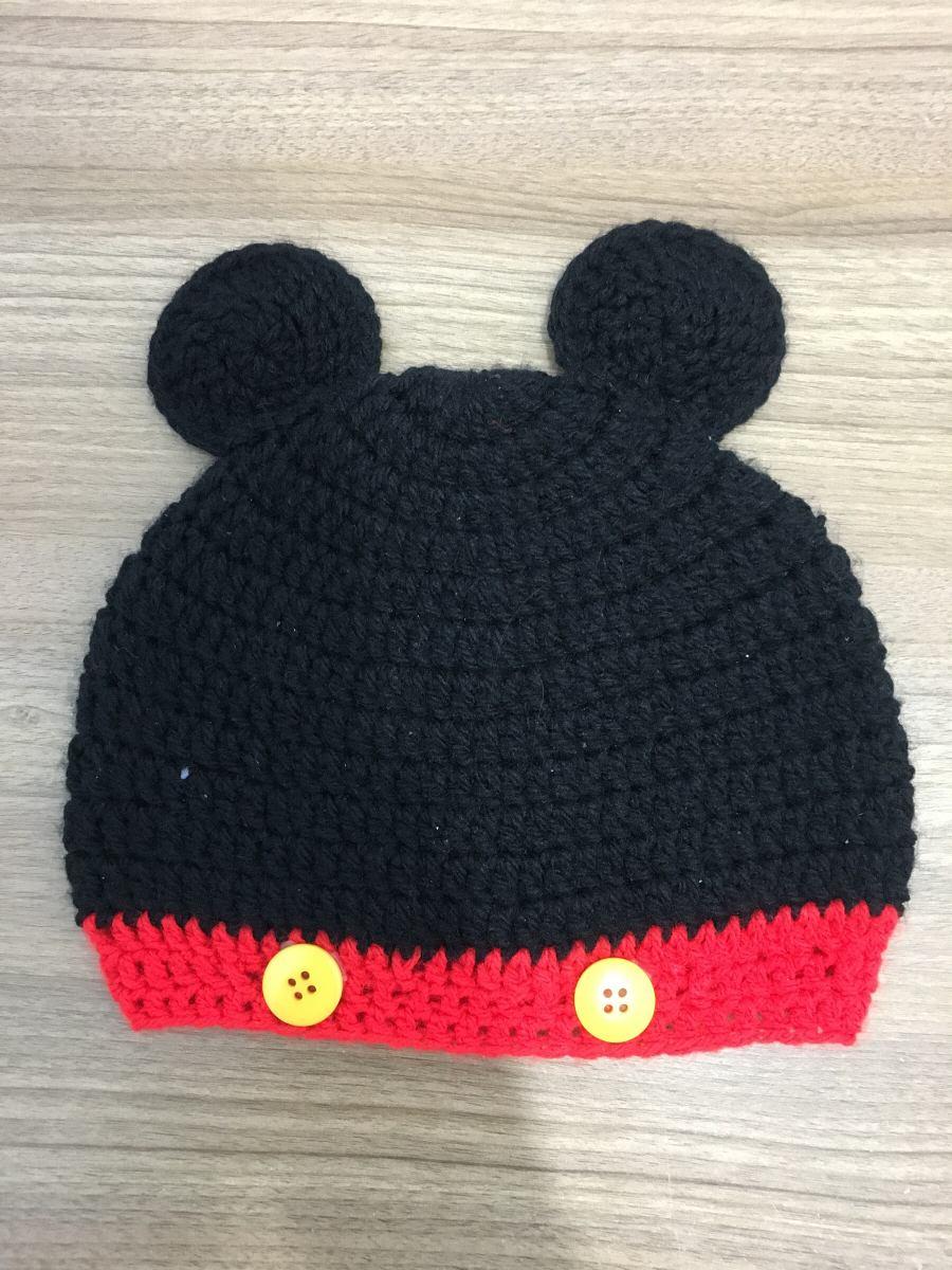Touca De Crochê Artesanal Feita À Mão gorro De Crochê Mickey - R  28 ... 11d57305a45
