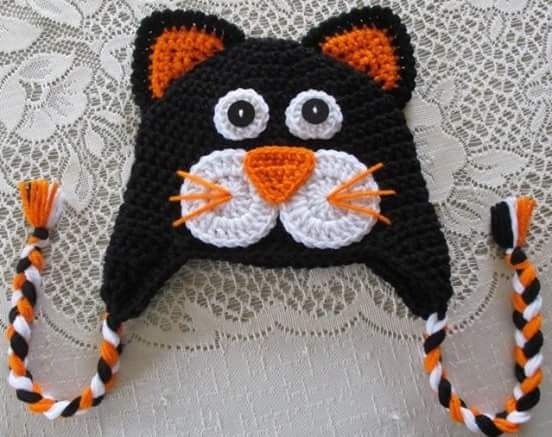 Touca De Croche Divertida Gato - R  35 41c300c8b5e