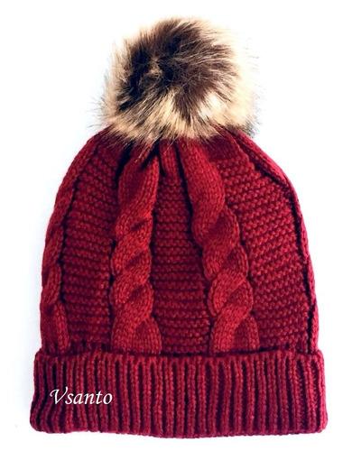 touca de lã forrada e com pompom de pelinho várias cores
