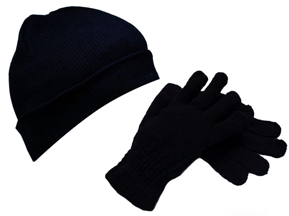 Carregando zoom... touca de lã preta + luva de lã preta conjunto inverno 664e25c5f69