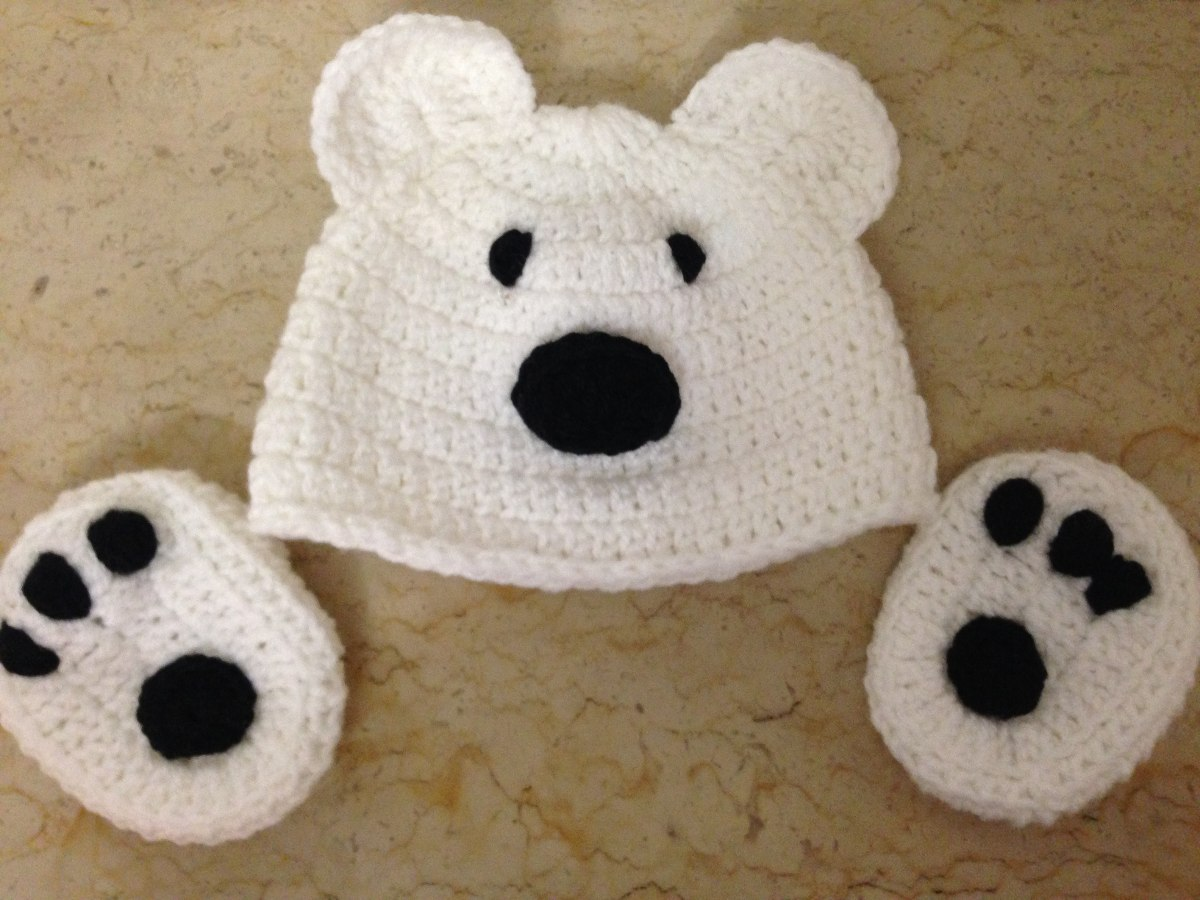 Touca E Luva Em Crochê Infantil Urso Polar Todos Os Tamanhos - R ... 27d42e17dc9