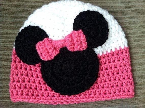ead0b6041a69e Touca Em Croche Infantil Minnie Todos Os Tamanhos - R  84