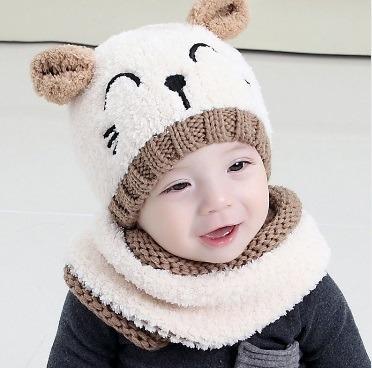 Touca + Gola Gatinho Bebê Gorro Unissex Confortável Inverno - R  59 ... c9594cbe828