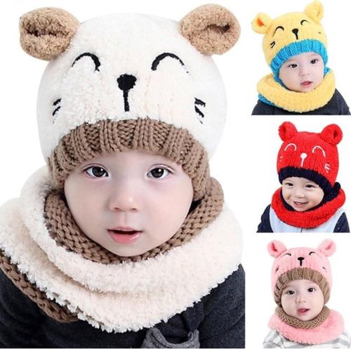 d453e70fc0e2e Touca + Gola Gatinho Bebê Gorro Unissex Inverno Fashion - R  59