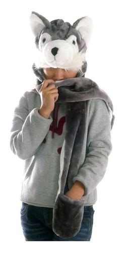 touca gorro bichinho pelúcia c/ cachecol cosplay husky lobo