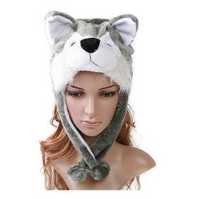 Touca Gorro Bicho Pelúcia Inverno Husky Siberiano Lobo
