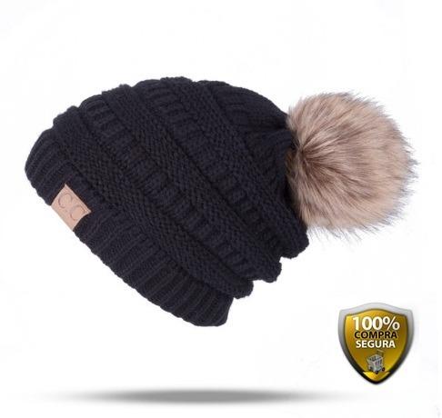 Touca Gorro Capuz De Lã C  Pompom Feminino Inverno - R  69 506317b1bf3