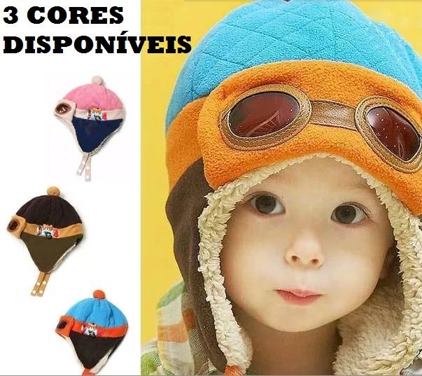 1ea2d26117b91 Touca Gorro Criança Bebe Infantil Aviador Inverno Importado - R  27 ...