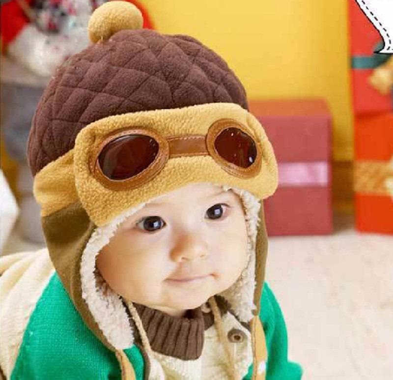 touca gorro criança bebe infantil aviador marrom e vermelha. Carregando  zoom. 98bc36542f5