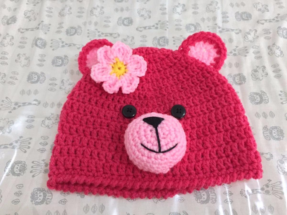 touca gorro criança bebe infantil urso de crochê com flor. Carregando zoom. eac661542ae