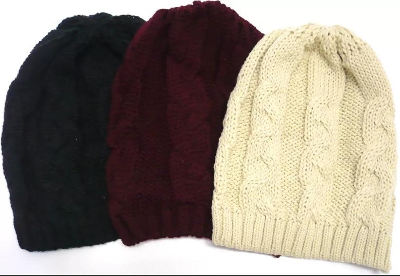 touca gorro de lã tricô feminina trança inverno várias cores. Carregando  zoom. a194fcc38b6