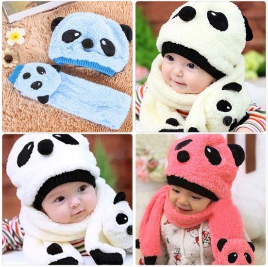 Touca Gorro E Cachecol Bone Bichinho Panda Infantil Inverno - R  55 ... 40cf6c392b9