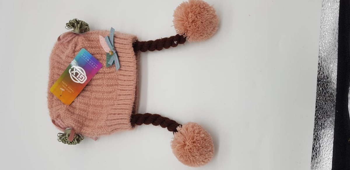 touca gorro infantil rosa claro com pompom 1 a 2 anos. Carregando zoom. 786ae058521