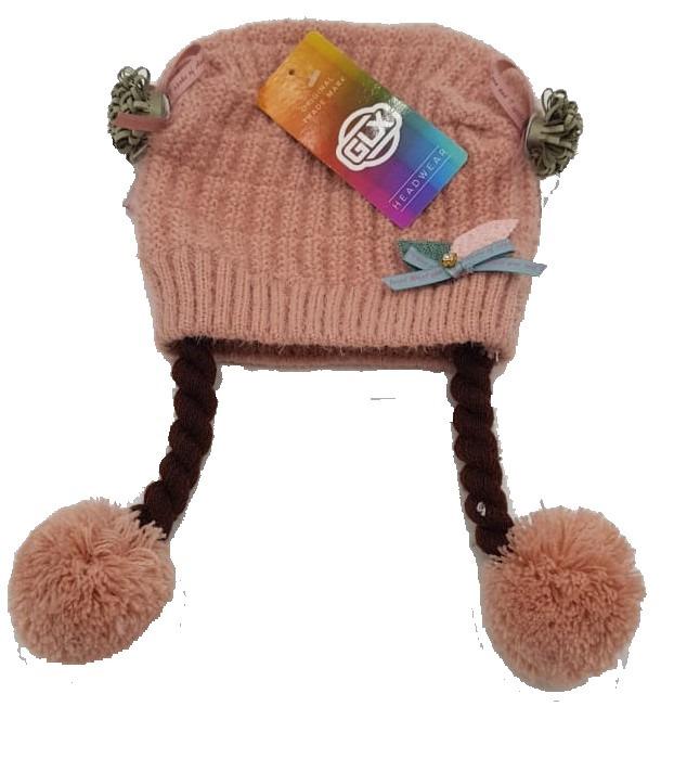 Touca Gorro Infantil Rosa Claro Com Pompom 1 A 2 Anos - R  19 5a2e3b832d6