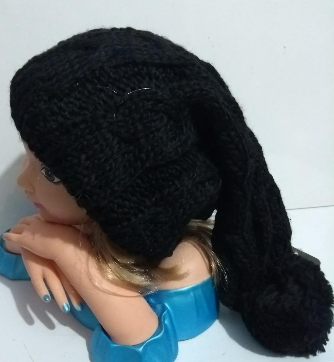 touca gorro lã frio feminino masculino trança pompom - preta. Carregando  zoom. dec2c67f628