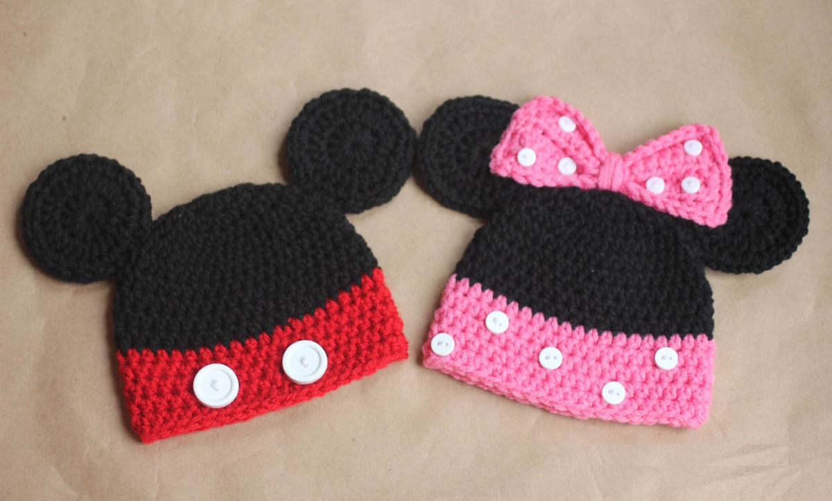 Touca Gorro Mickey Ou Minnie - Disney Newborn Art Crochê - R  32 c114282d717