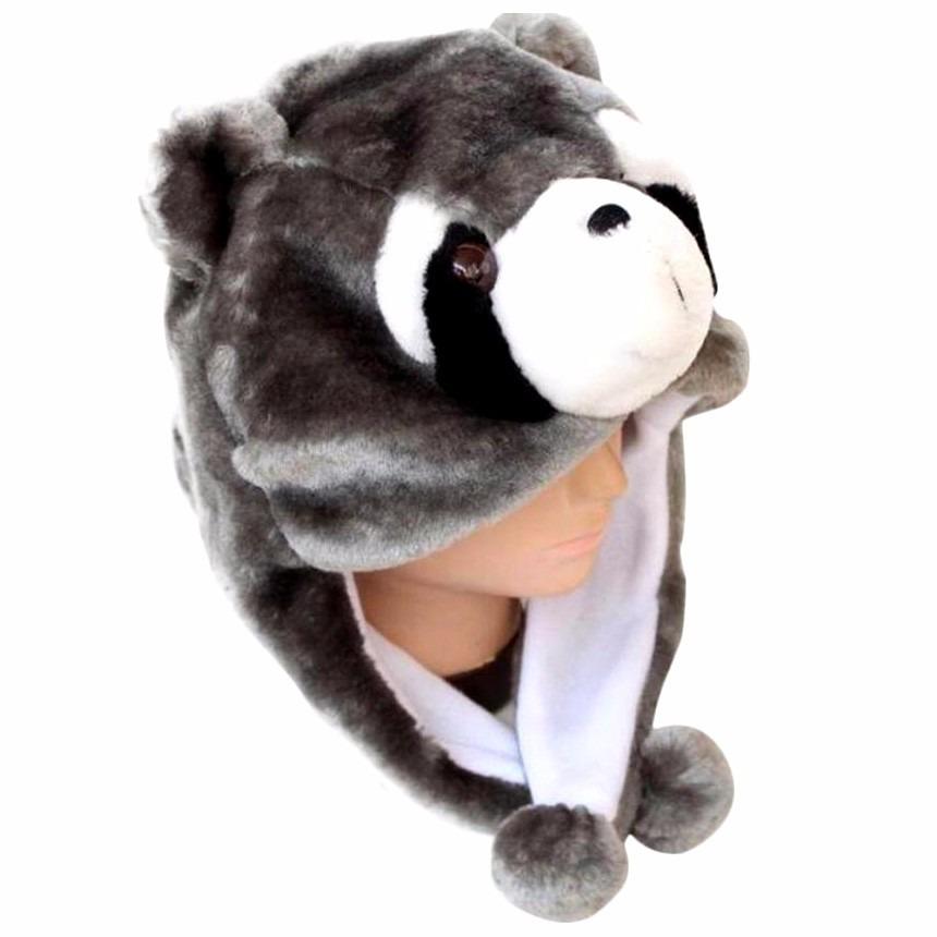 touca guaxinim pelúcia cinza cosplay moda fantasia inverno. Carregando zoom. ad47e0cdd20