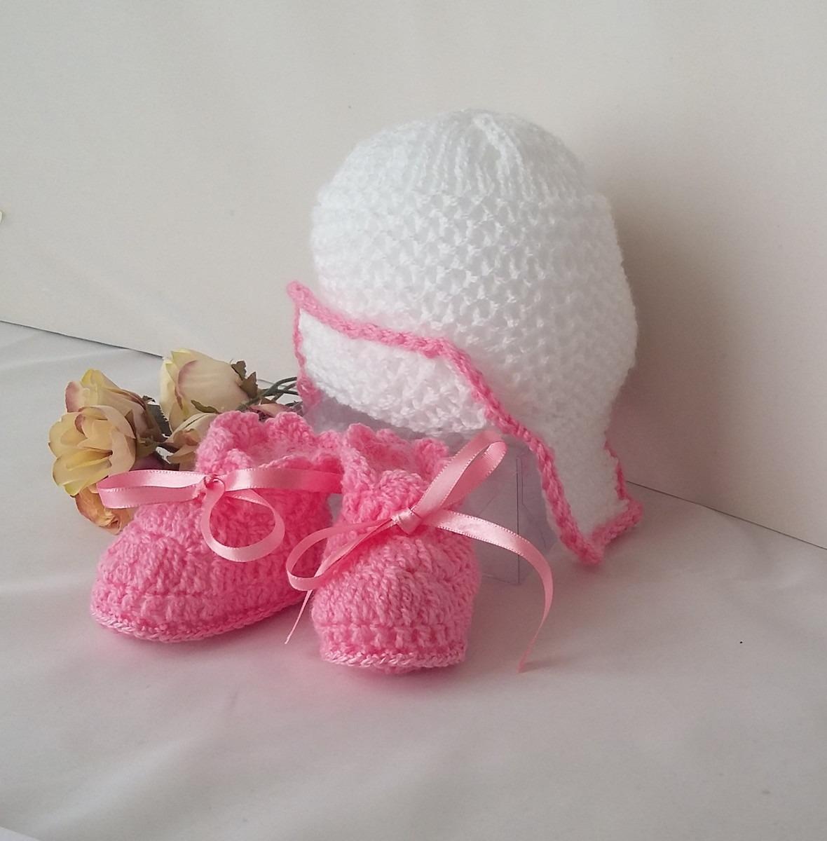 Touca Infantil Em Trico Mão E Sapatinho Cod847c23 - R  98 d7f63c37640