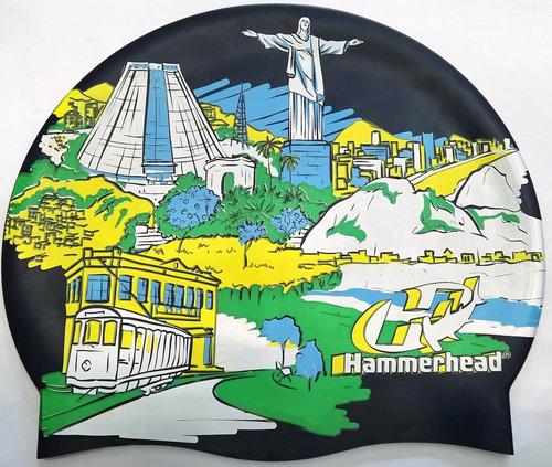 Touca Natacao Silicone Rio De Janeiro Hammerhead Marinho - R  29 2109becae24