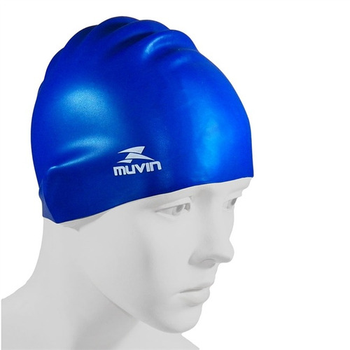 touca natação em silicone standard - muvin - azul