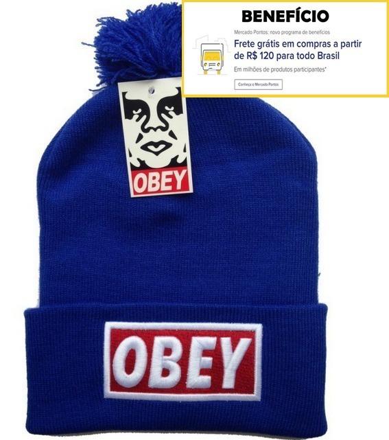 Touca Obey Gorro Azul Com Pompom 100% Original No Brasil - R  34 1b39d135af8