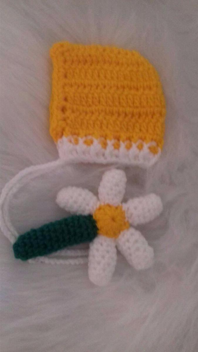 Touca Retro Com Flor Amigurumi Newborn De Croche - R  45 f5b127b2f4e